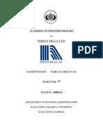 Internship Report on Nishat Mills 2012