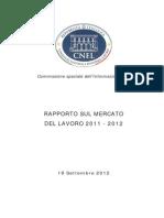 RAPPORTO SUL MERCATO DEL LAVORO 2011 - 2012 CNEL