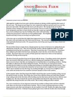 Shannon Brook Farm Newsletter 1-5-2013