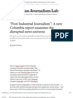 """Post-Industrial Journalism""- A new Columbia report examines the disrupted news universe"