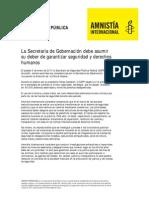 Declaración Pública de Aministía Internacional.