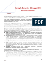 Discorso Movimento 5 Stelle Cesano Maderno Primo Consiglio Comunale
