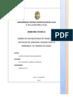 DISEÑO DE UNA BOCATOMA DE FONDO PARA CAPTACION DE CONSUMO HUMANO