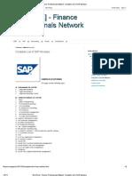 sap network complete list of sap modules