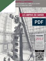 Programme 2013 des « Amphis du Savoir », Poitiers