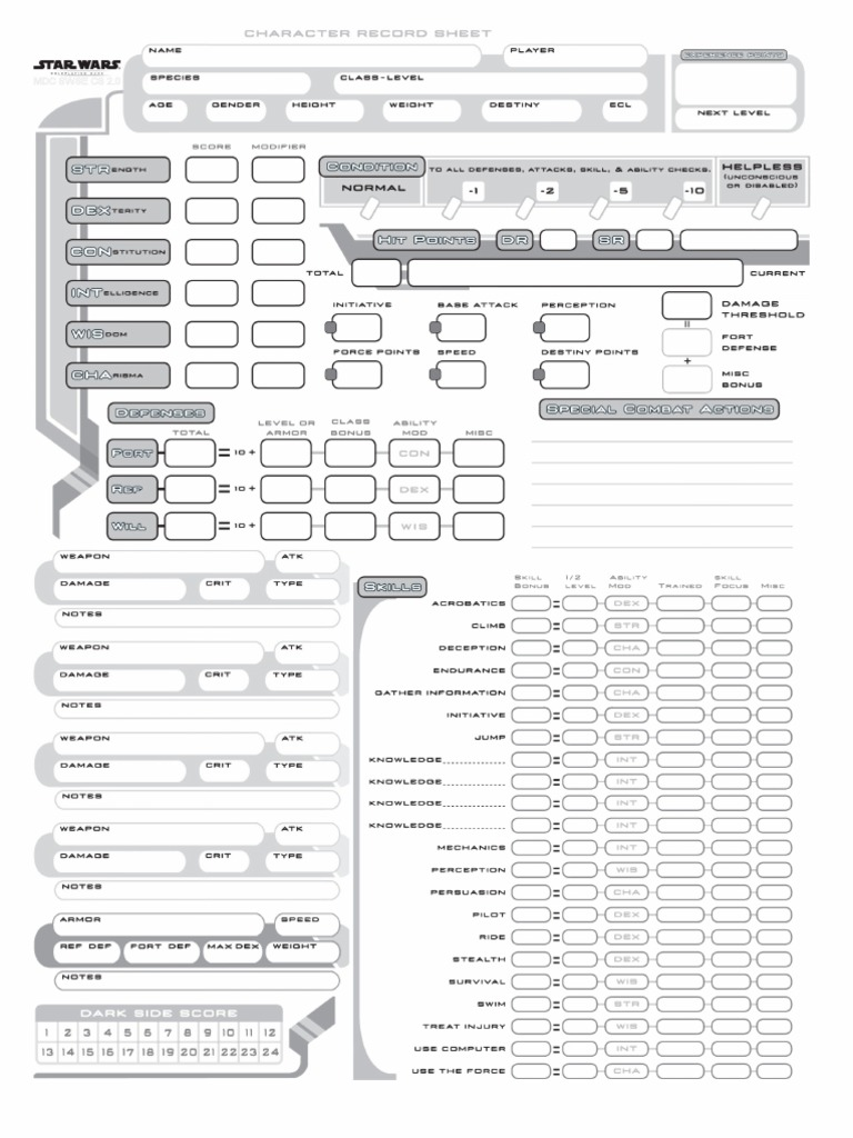 Saga Edition Character Sheet