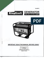 KingCraft Generator #6915 Owner's Manual