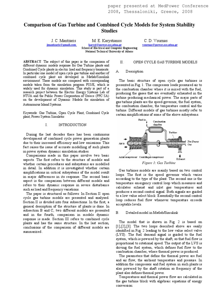 Comparison of Gas-Turbine and Combined Cycle Models for System