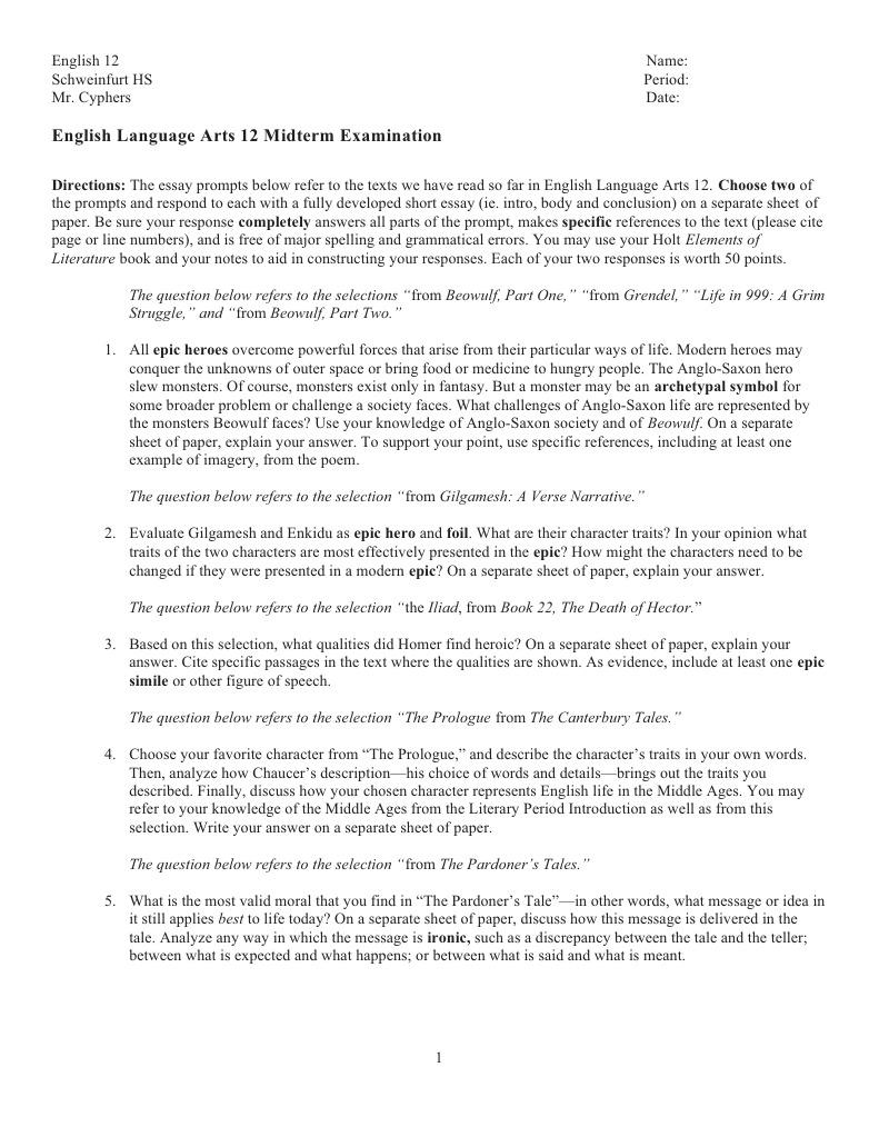 midterm essay exam beowulf hero