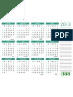 IRRI 2013 Calendar Letter Wide