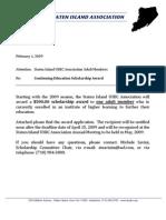 SIUSBC 2009 Adult (Continuing Education) Scholarship Award Application