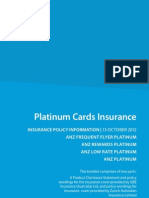ANZ Platinum Credit Card Insurance Policy