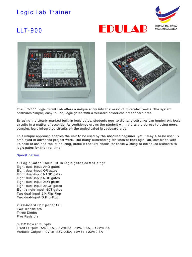 Logic Lab Trainer Llt 900 Electronic Circuits Integrated From Components Supplies On