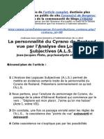 La personnalité du Cyrano de Rostand vue par l'Analyse des Logiques Subjectives (A.L.S.)