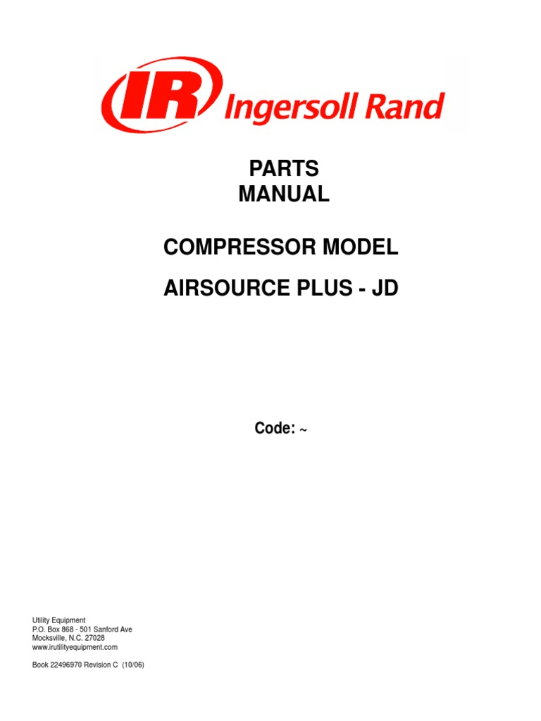 P185WJD, Portable Package S/N ULPB34. SOURCE JD SSR-EP Manual. Ingersoll  Rand ...