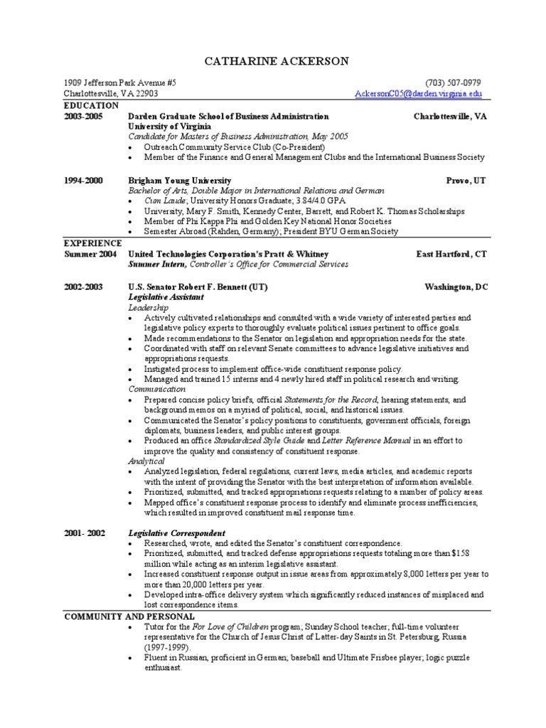 darden pe resume book