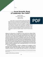 The Social Scientific Study of Leadership