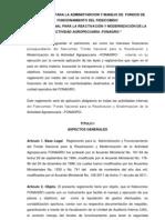 Reglamento Admon. y Manejo Fondos Funcionamiento Fonagro
