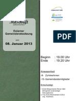 Eslarner Gemeinderatssitzungen, 08.01.2013
