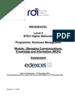 RDI/EDEXCEL--Programme