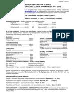 Grade 9 Course Selection Sheet