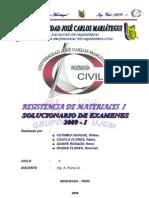 RESOLUCION DE EXAMENES RESISTENCIA DE MATERIALES 2009-I