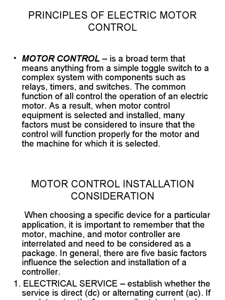 Principles of Electric Motor Control   Switch   Machines