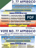 No. 77 AFPSEGCO Party List - BLP Pambansang Pagbabago Programs