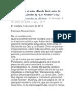 Cristina Fernández de Kirchner, presidenta de Argentina, le responde a Ricardo Darín