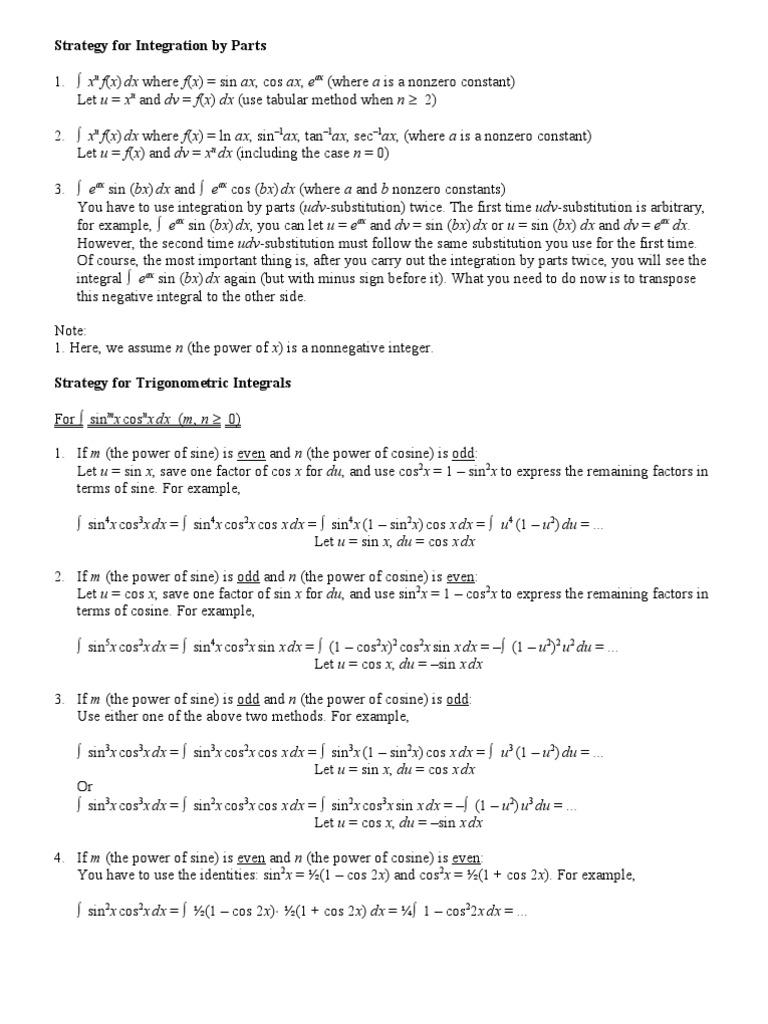 Strategy for Integration   Trigonometric Functions (16 views)