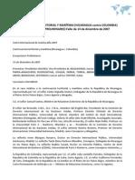 CONTROVERSIA TERRITORIAL Y MARÍTIMA (NICARAGUA contra COLOMBIA) (EXCEPCIONES PRELIMINARES) Fallo de 13 de diciembre de 2007