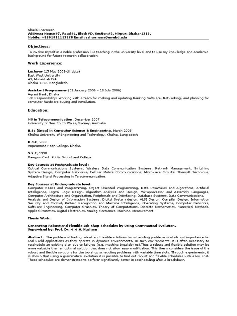 CV   Telecommunication   Computer Network