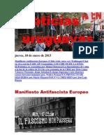 Noticias Uruguayas jueves 10 de enero del 2013