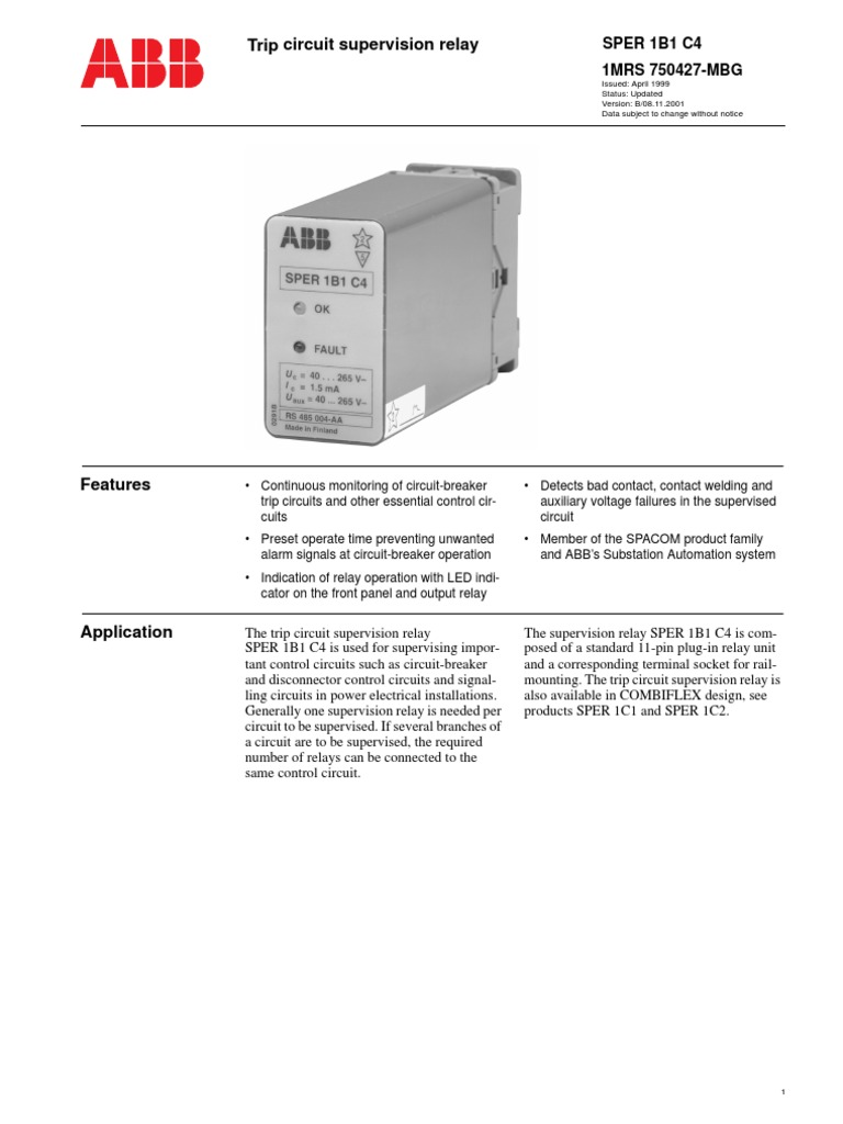 Abb Trip Circuit Supervision Ctalogue Relay Direct Current Monitoring