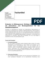 Evaluation Im Bildungswesen