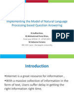 Implementing the Model of Natural Language Processing based Question Answering