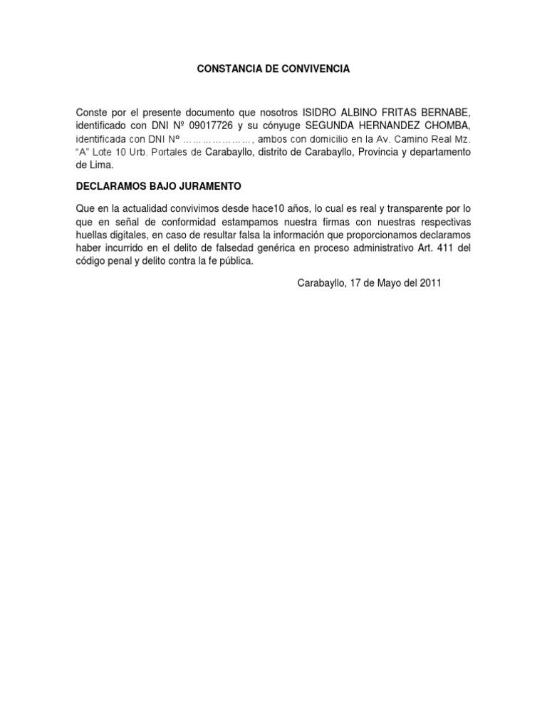 MODELO DE CONSTANCIA DE CONVIVENCIA
