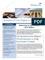 Operational Due Diligence Insights - Corgentum Consulting Newsletter