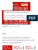 """The 2012 holiday campaign for history organizations and historic sites recap -- """"Make this holiday historic!"""" from The History List (www.TheHistoryList.com)"""