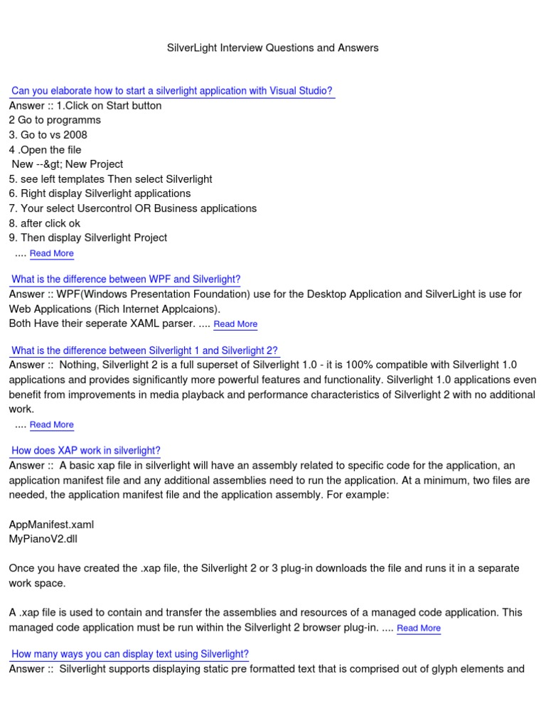 Silverlight Interview Questions | Microsoft Silverlight | Extensible