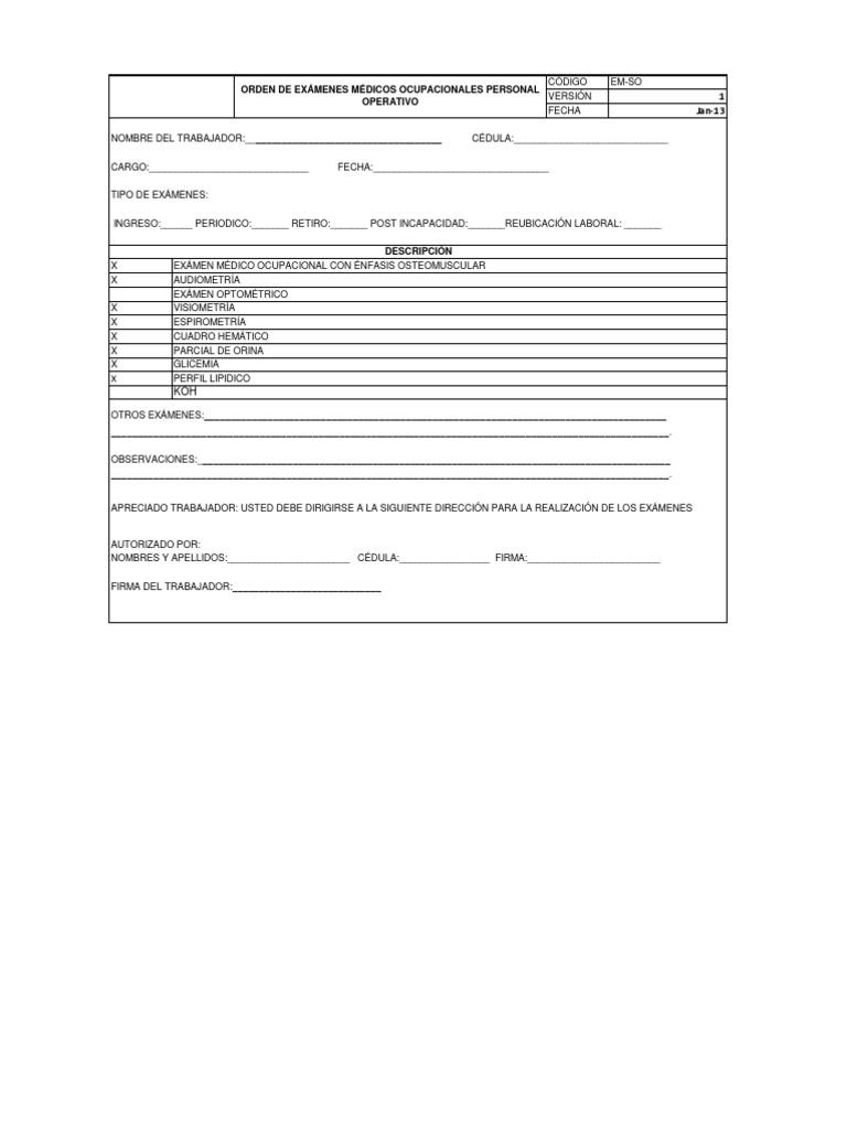 formato para ordenes de examenes medicos