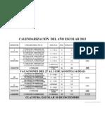 CALENDARIZACIÓN DEL AÑO ESCOLAR 2013