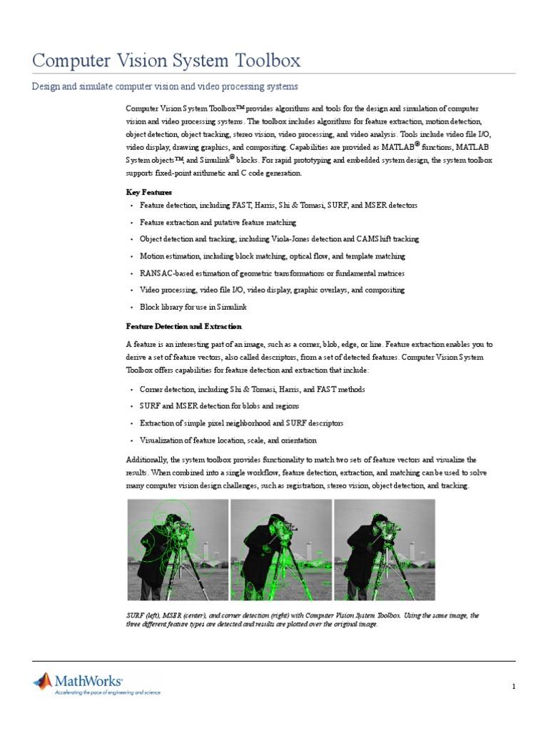 COMPUTER VISION TOOLBOX (MATLAB) | Computer Vision | Matlab