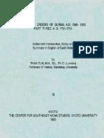 The Royal Orders of Burma A.D. 1598-1885 Part Three (A.D. 1751-1781)