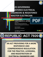 Rules on Governing RME, REE, And PEE Under RA 7920