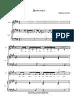 Avril Lavigne Innocence sheets for piano