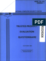 NCSC-TG-019-V1 Trusted Product Evaluation Questionnaire