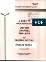 NCSC-TG-030-V1 A Guide To Understanding Covert Channel Analysis in Trusted Systems (Light Pink Book)