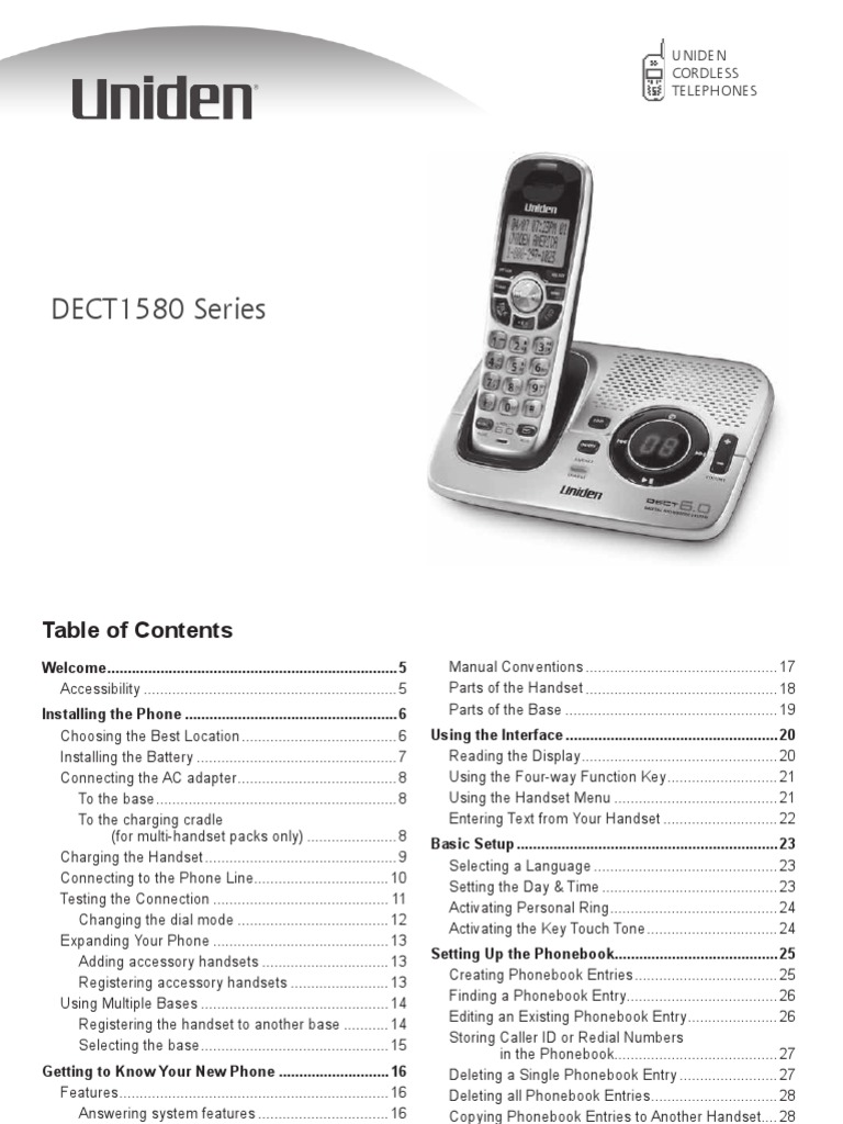 Uniden Dect 6.0 - Dect1580-2 Manual | Telephone | Telecommunications  Equipment