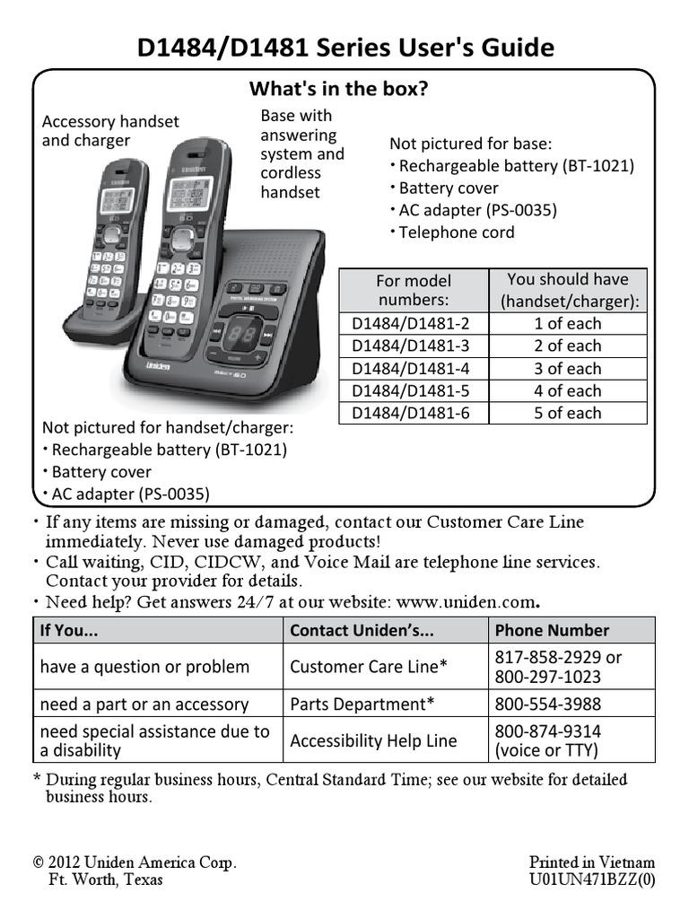 Uniden Dect 60 D1484d1481 Manual Telephone Battery Charger